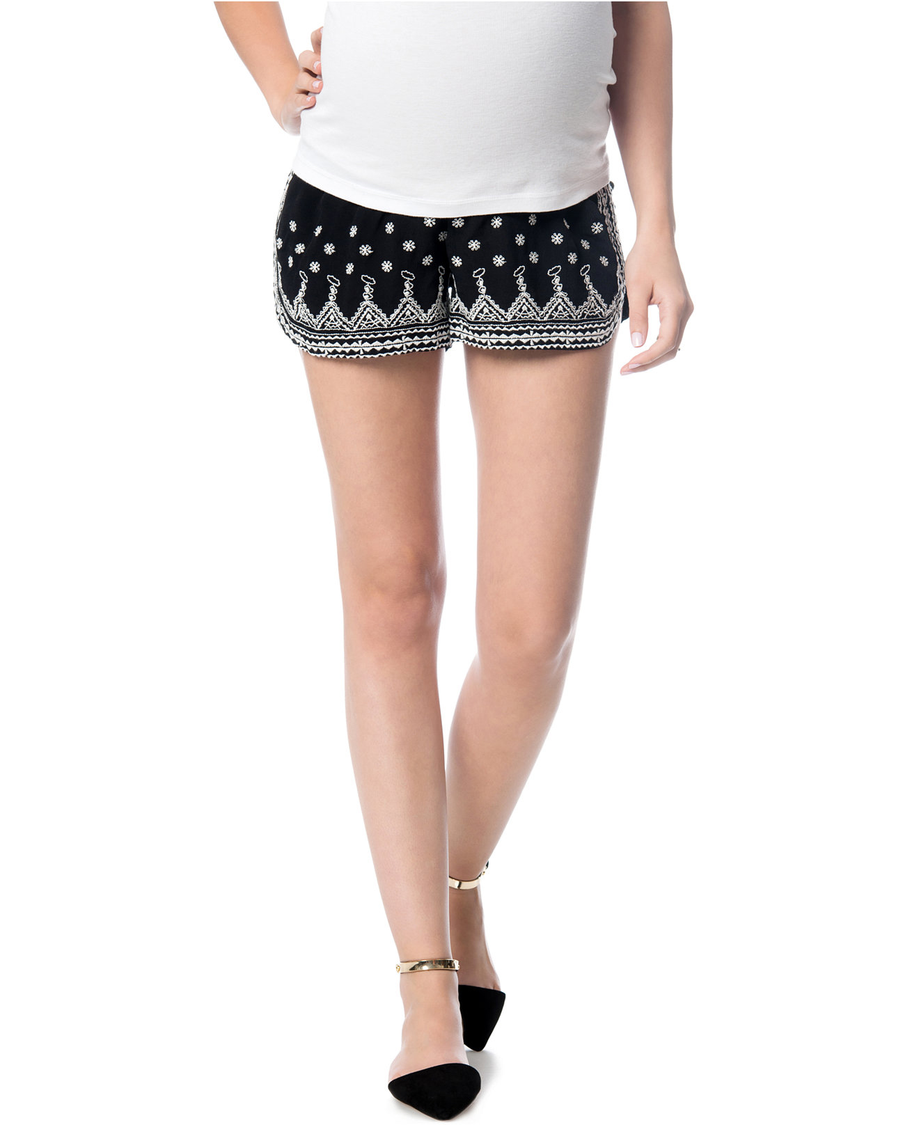 Maternity Embroidered Shorts from Macys
