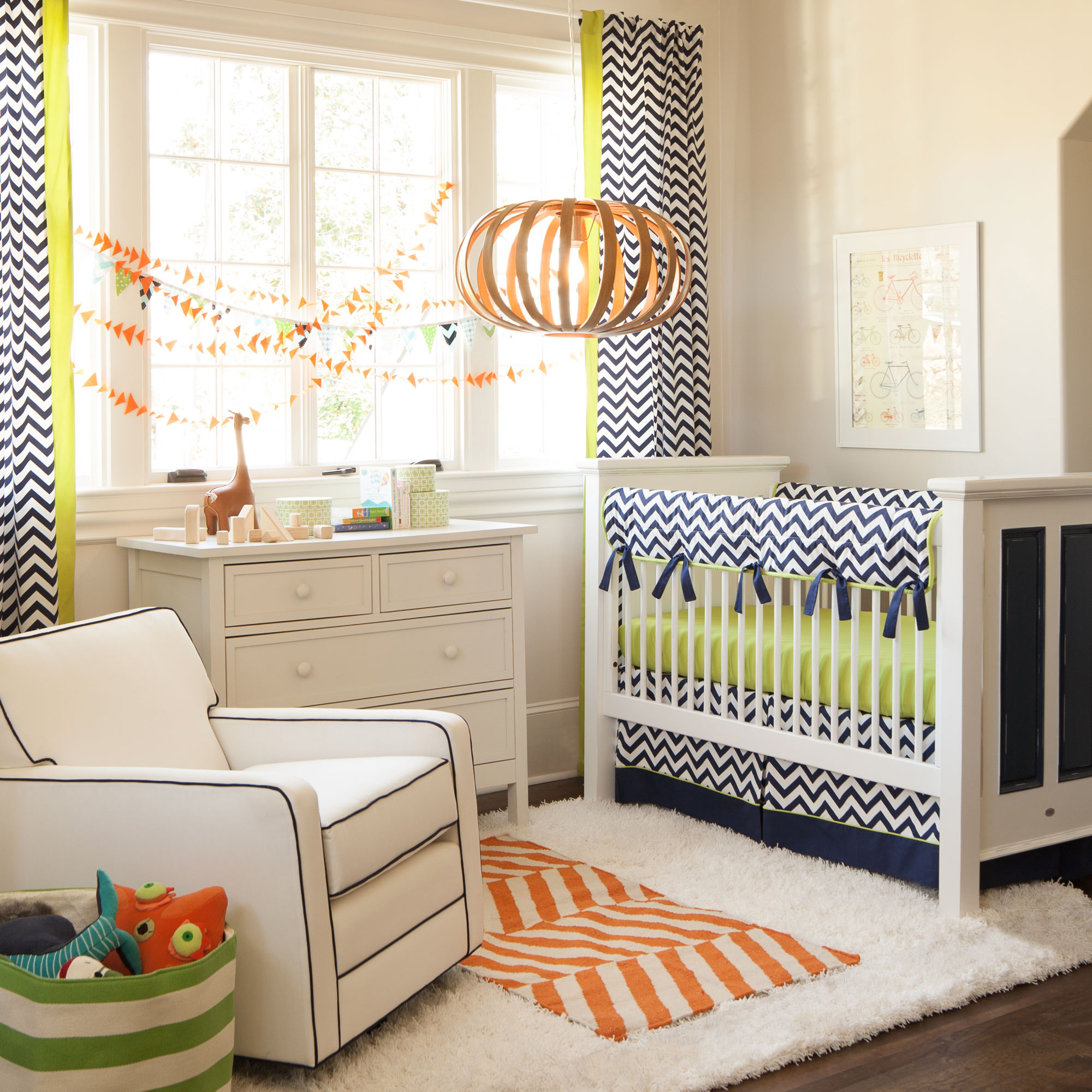 Navy and Citron Zig Zag Crib Bedding from Carousel Designs