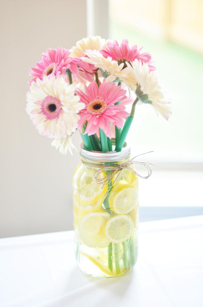 Gerbera Daisies in Mason Jar with Lemons