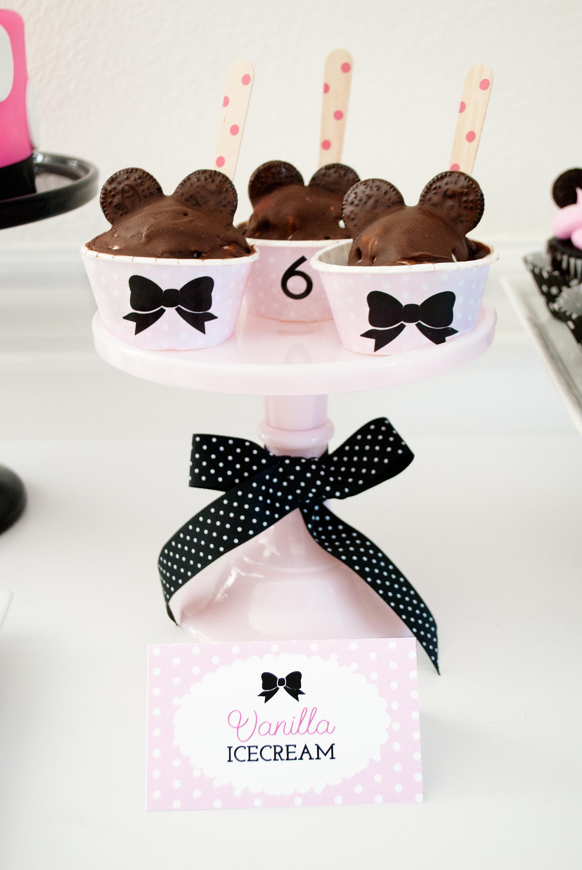 DIY Minnie Mouse Ice Cream Sundaes