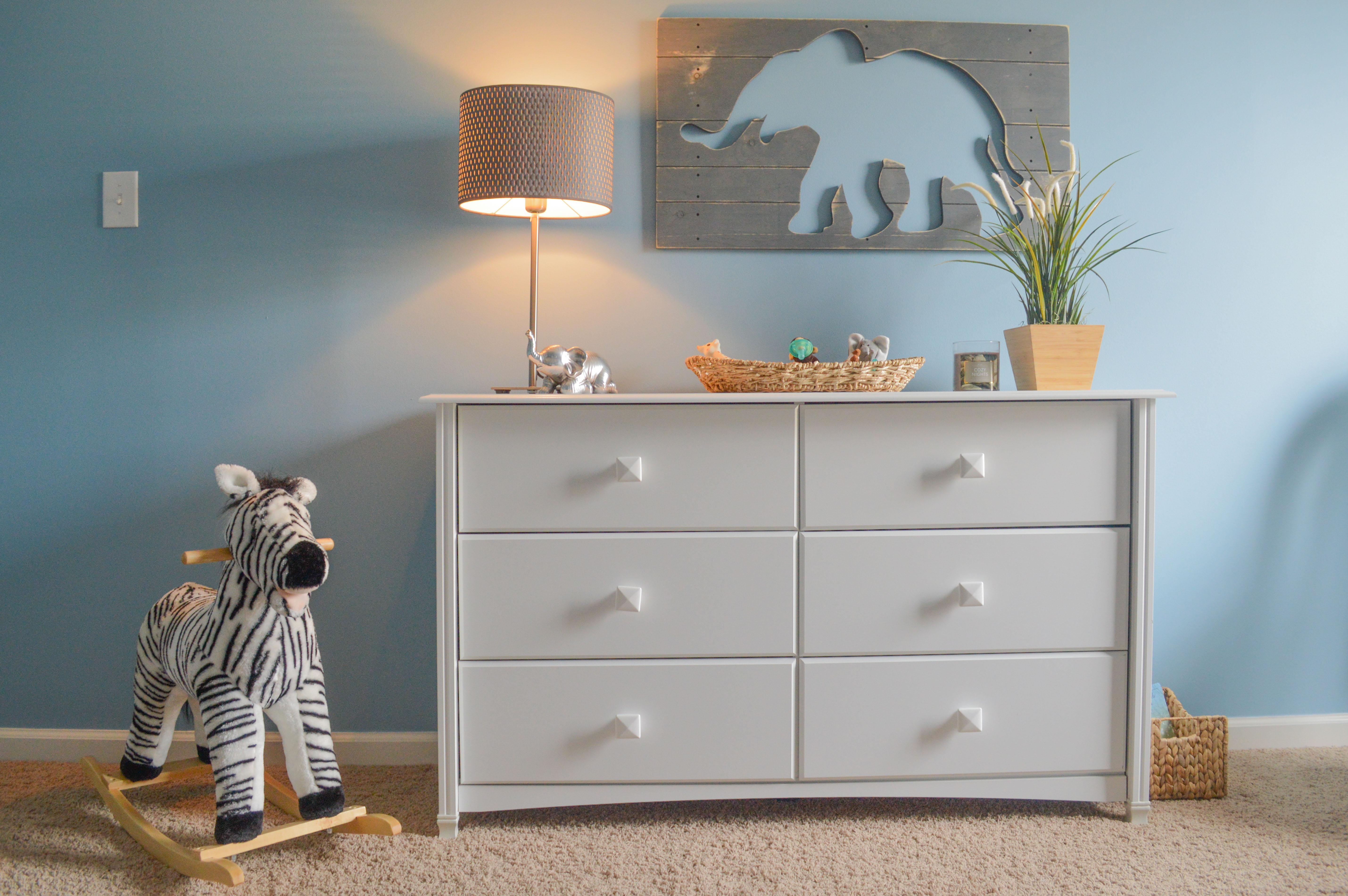 classic gray and blue safari nursery  project nursery -
