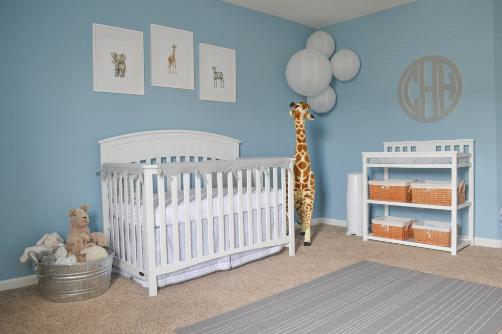 Classic Gray and Blue Safari Nursery