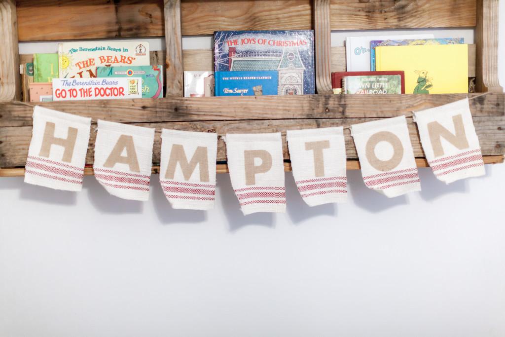 DIY Shipping Crate Bookshelf in this Neutral Nautical Nursery