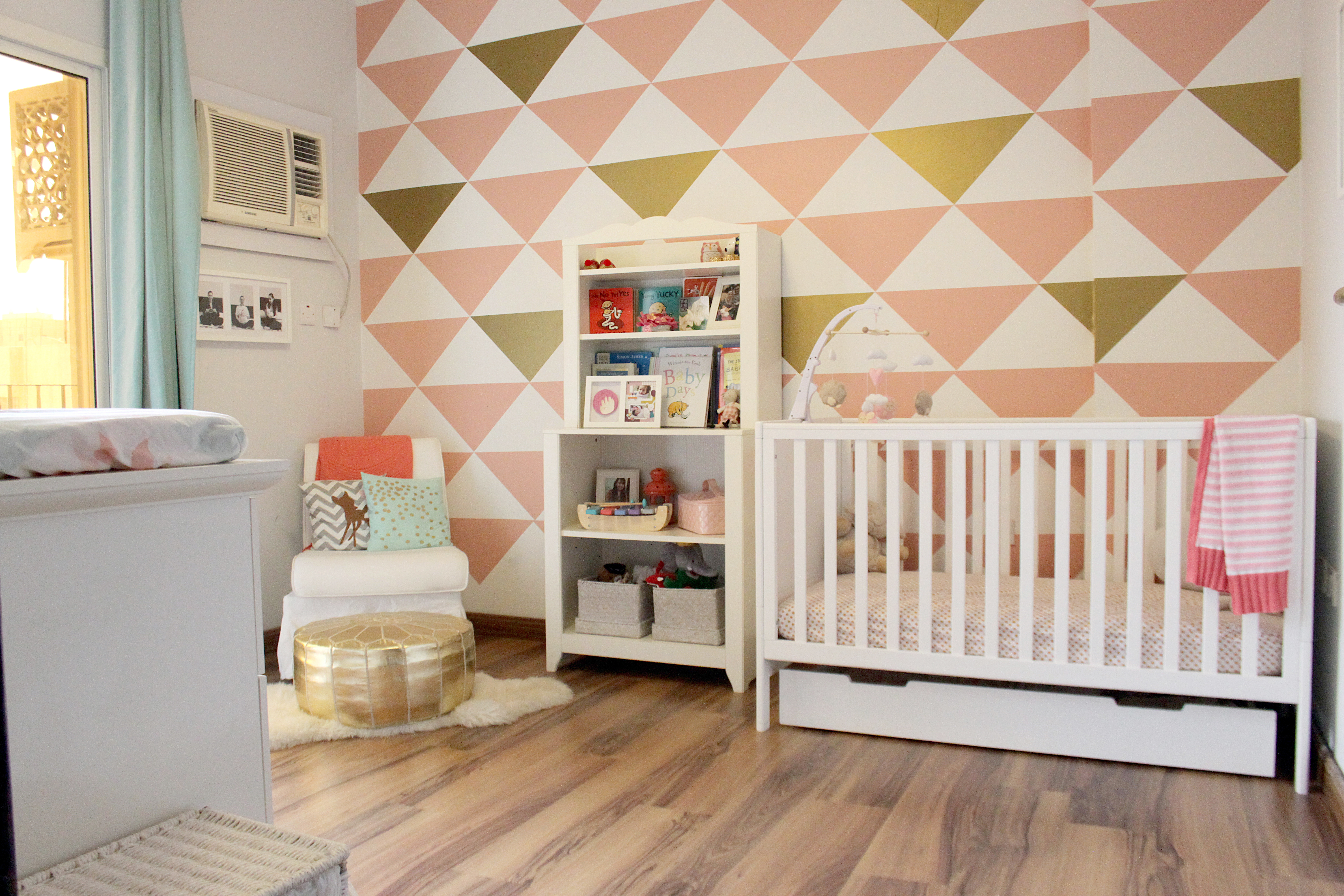 Peach and Mint Nursery with Triangle Decal Accent Wall