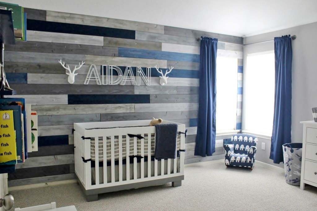 Rustic Navy and Gray Nursery with Wood Accent Wall - Project Nursery