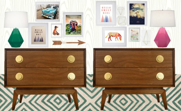 Boy and Girl Shared Nursery Design Board