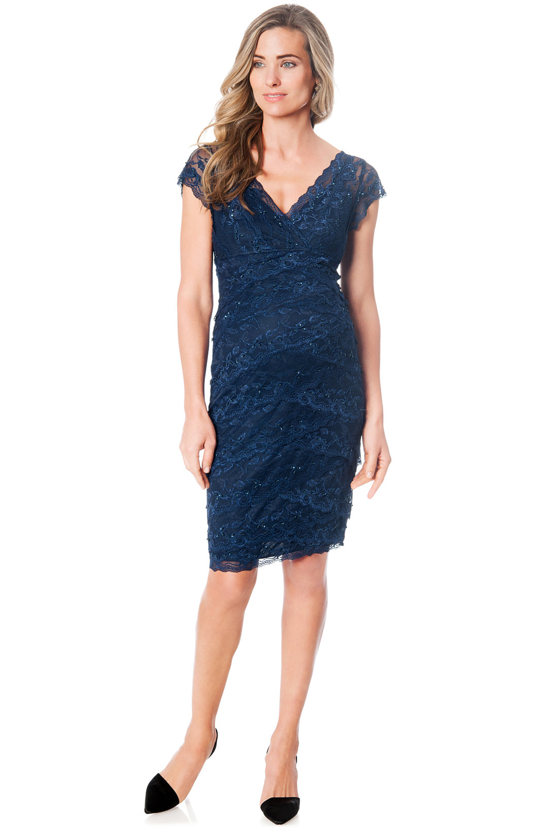 Maternity Cap-Sleeve Lace Dress from Macys