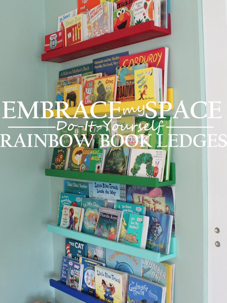 DIY Rainbow Book Ledges