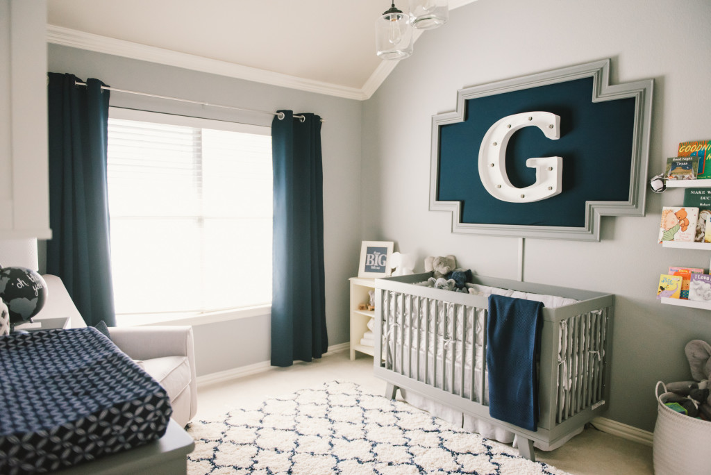 Grayson S Modern Grey Navy And White Nursery Project