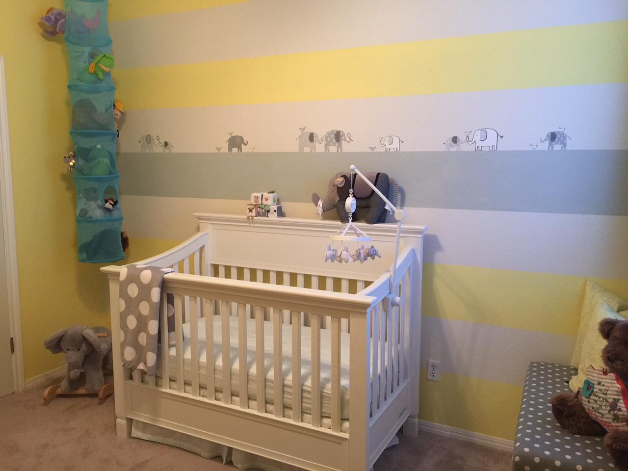 Gray and Yellow Elephant Nursery