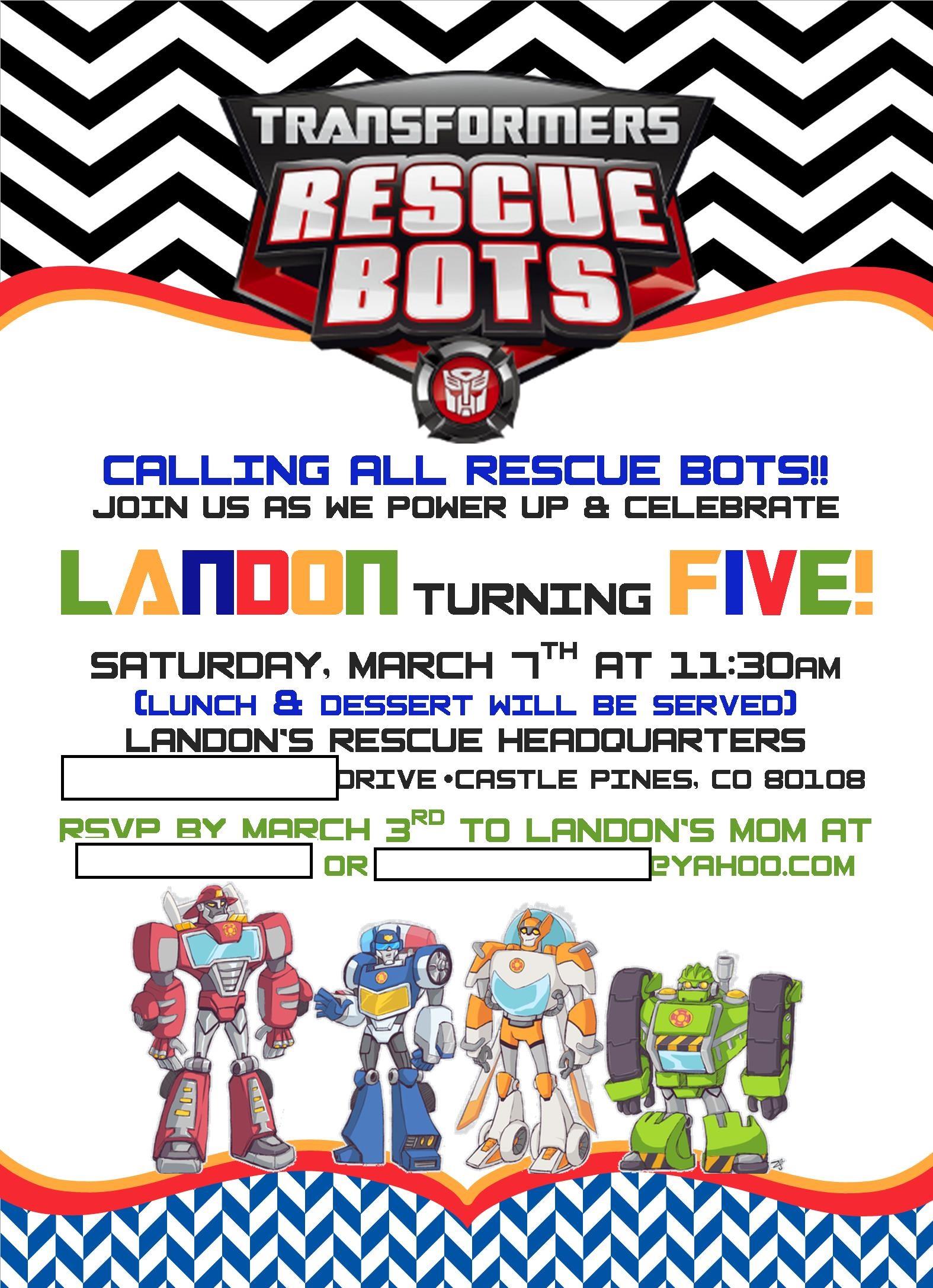 Landon's Rescue Bots 5th Birthday - Project Nursery