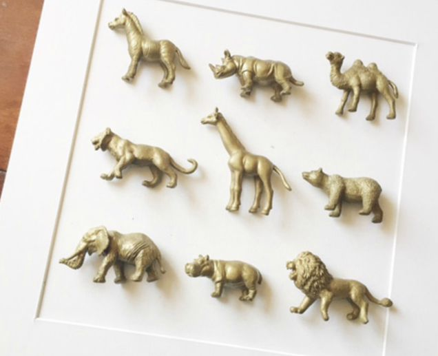 DIY Safari Animal Shadow Box