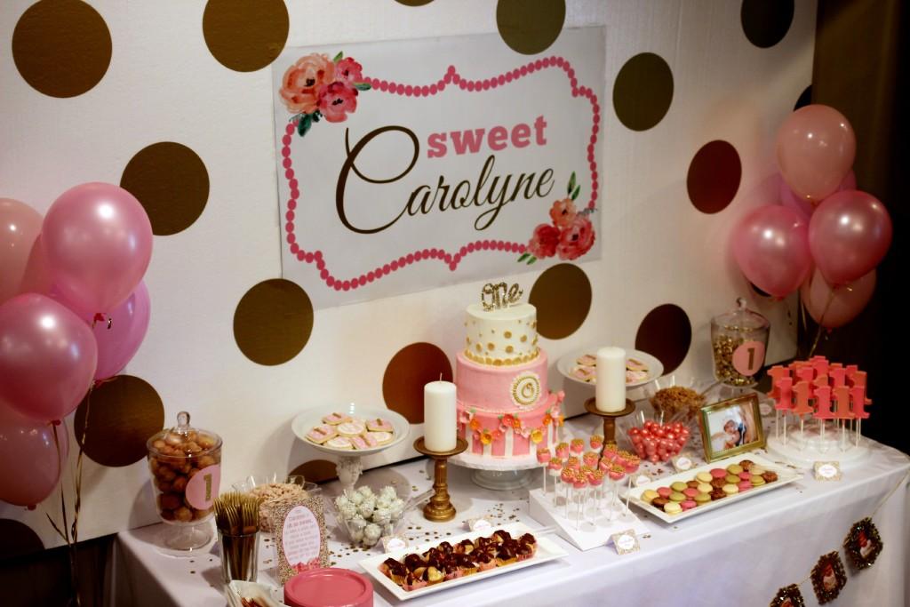 Sweet Carolyne 1st Birthday Party Dessert Table