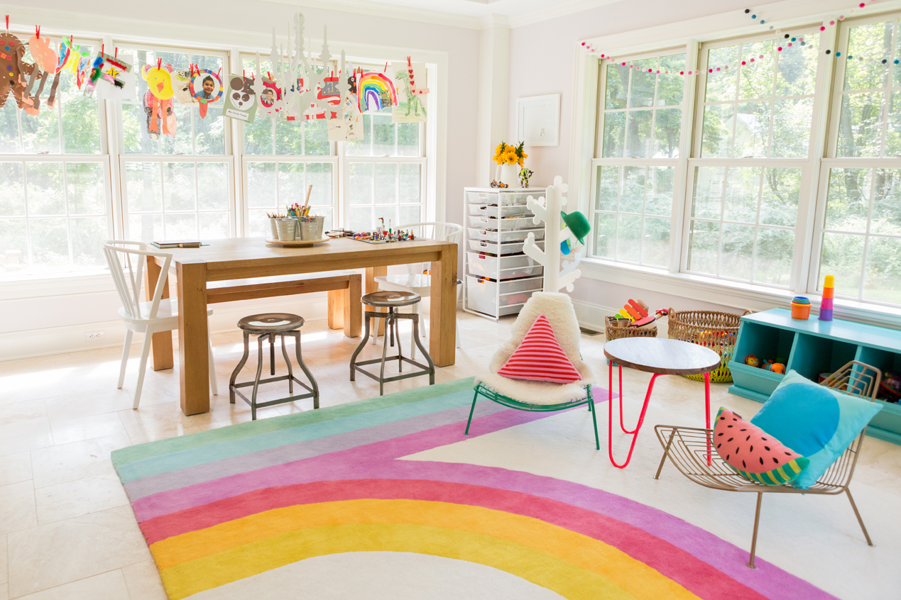 Colorful Playroom With Retro Inspired Rug Project Nursery