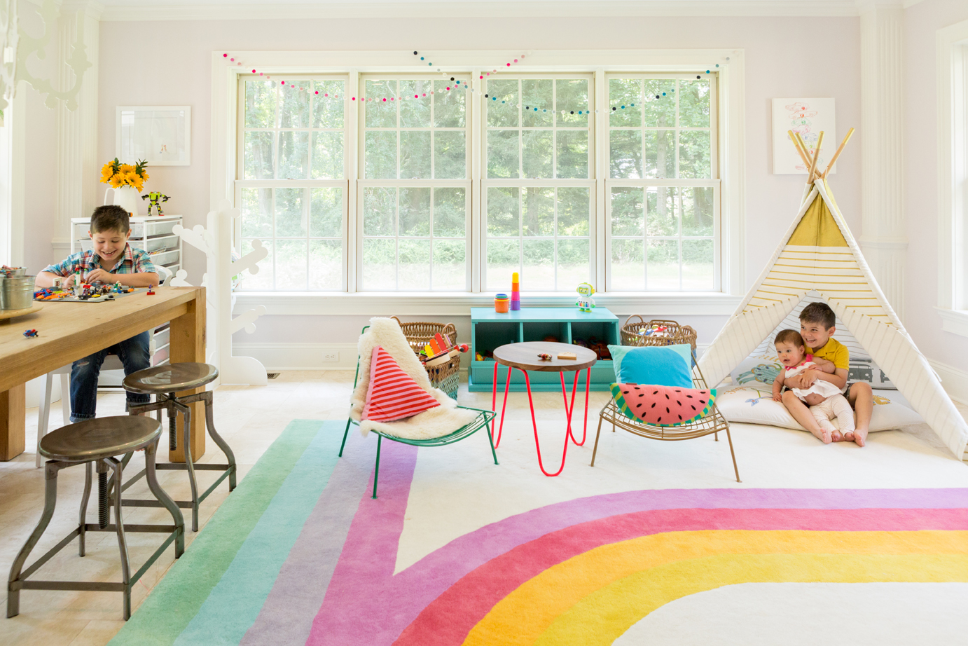 Colorful Playroom with Retro-Inspired Rug - Project Nursery