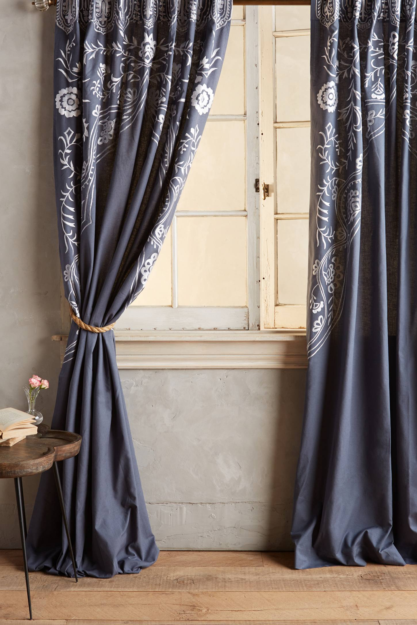 Embroidered Navy Curtains From Anthropologie
