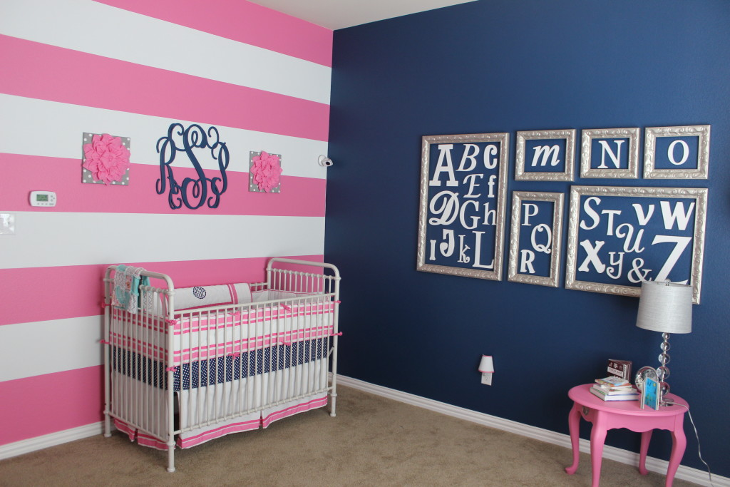 6 Pink Grey And Navy Nursery