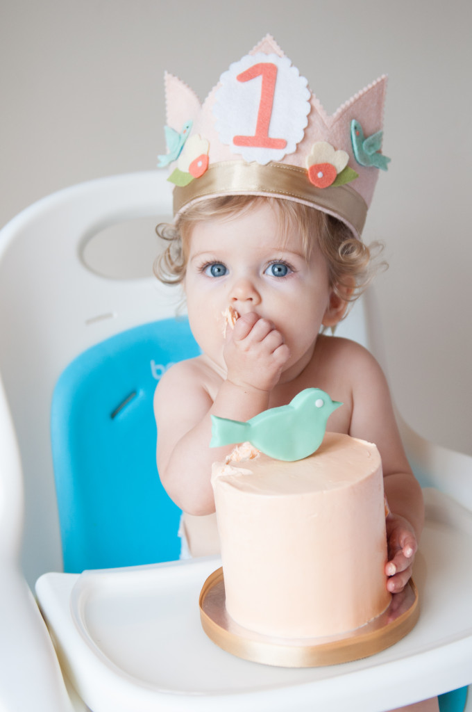 Pink And Aqua First Birthday Crown