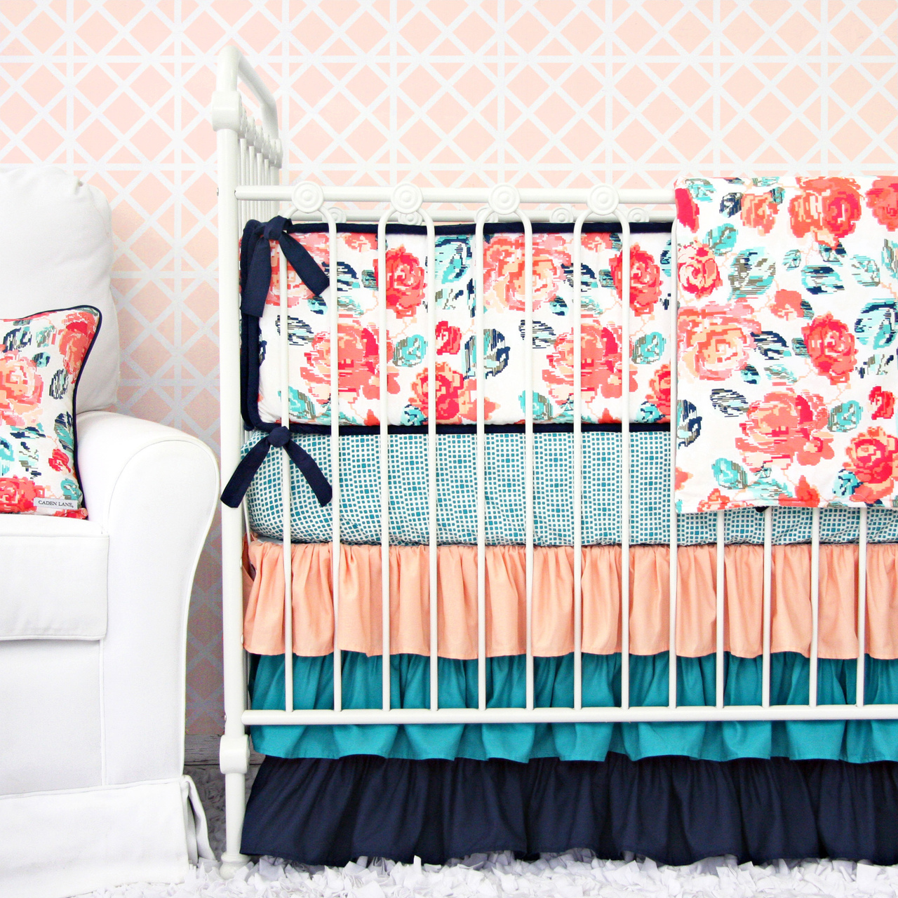 Coral and Navy Garden Baby Bedding from Caden Lane
