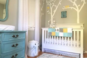 Aqua, Yellow and Gray Elephant Nursery