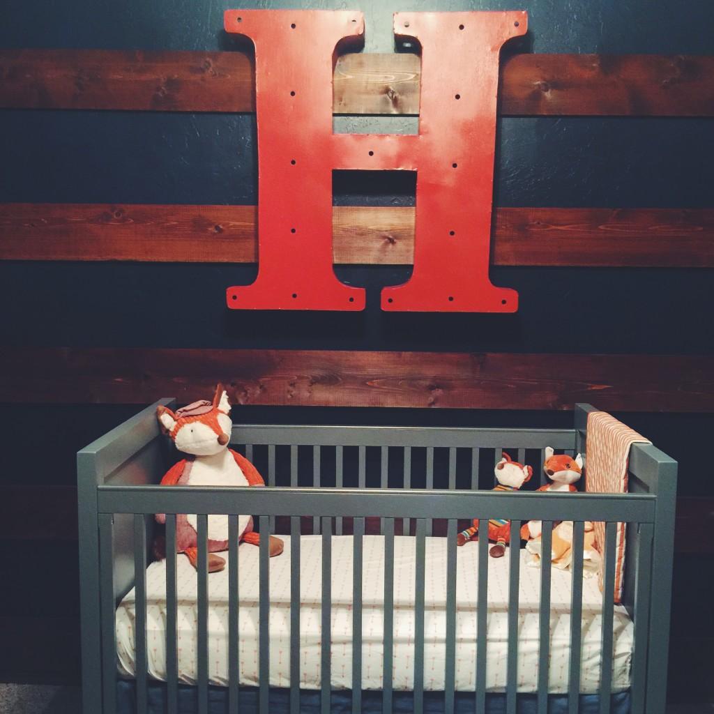Rustic Nursery with Cedar Accent Wall