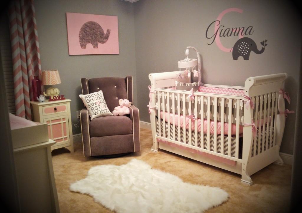 Pink and Gray Elephant Nursery