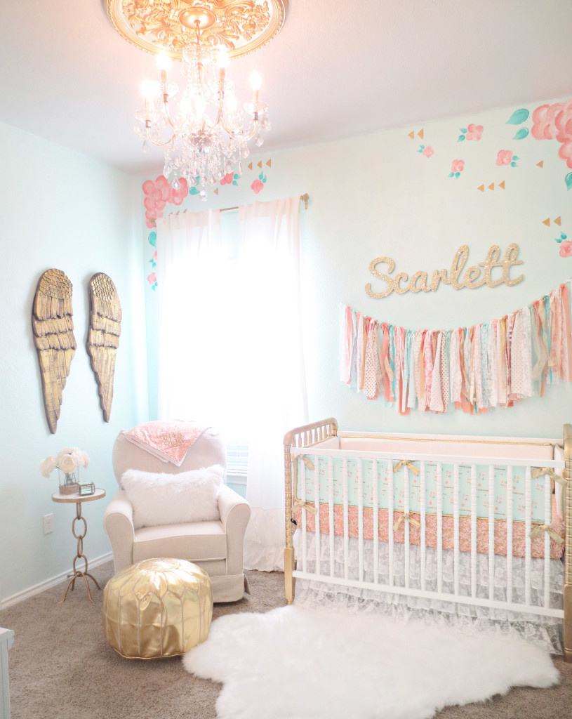 Vintage Lace Inspired Mint and Gold Nursery