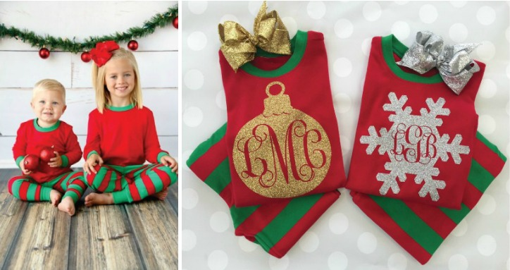 Monogrammed Christmas Pajamas from Nursery Couture