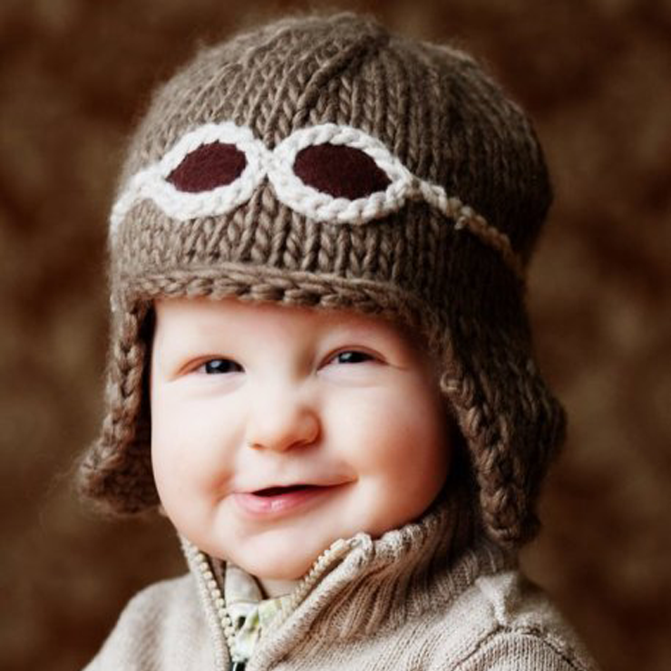Knit Aviator Baby Hat