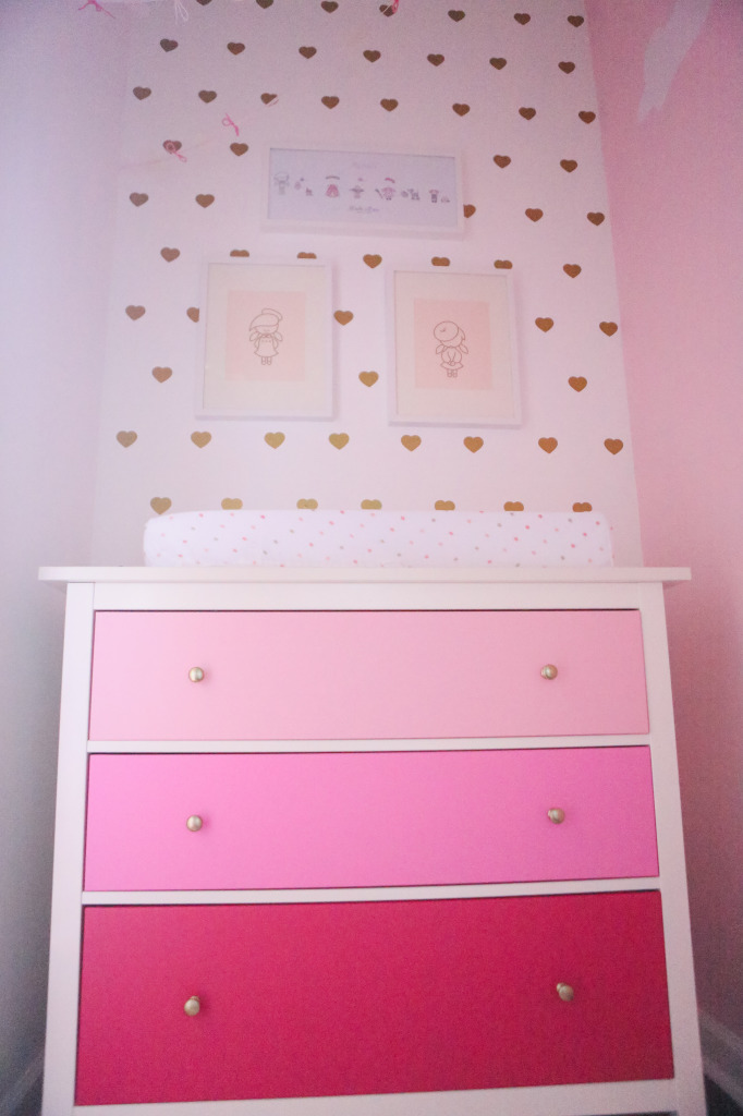 Gold Heart Decals over Pink Ombre Dresser