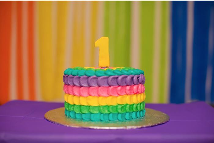 Rainbow 1st Birthday Cake