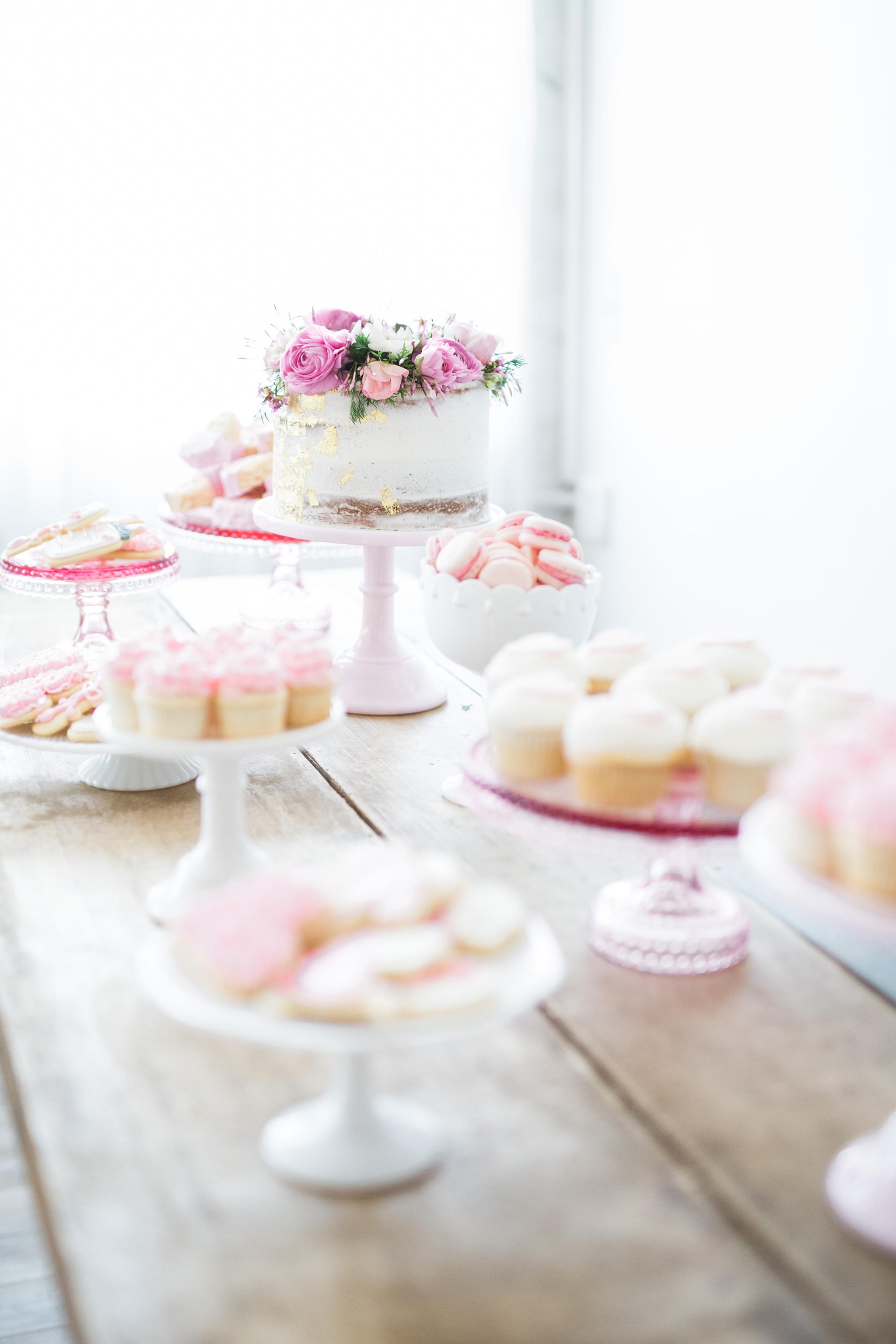 Feminine Pink and Gold Baby Shower Desserts