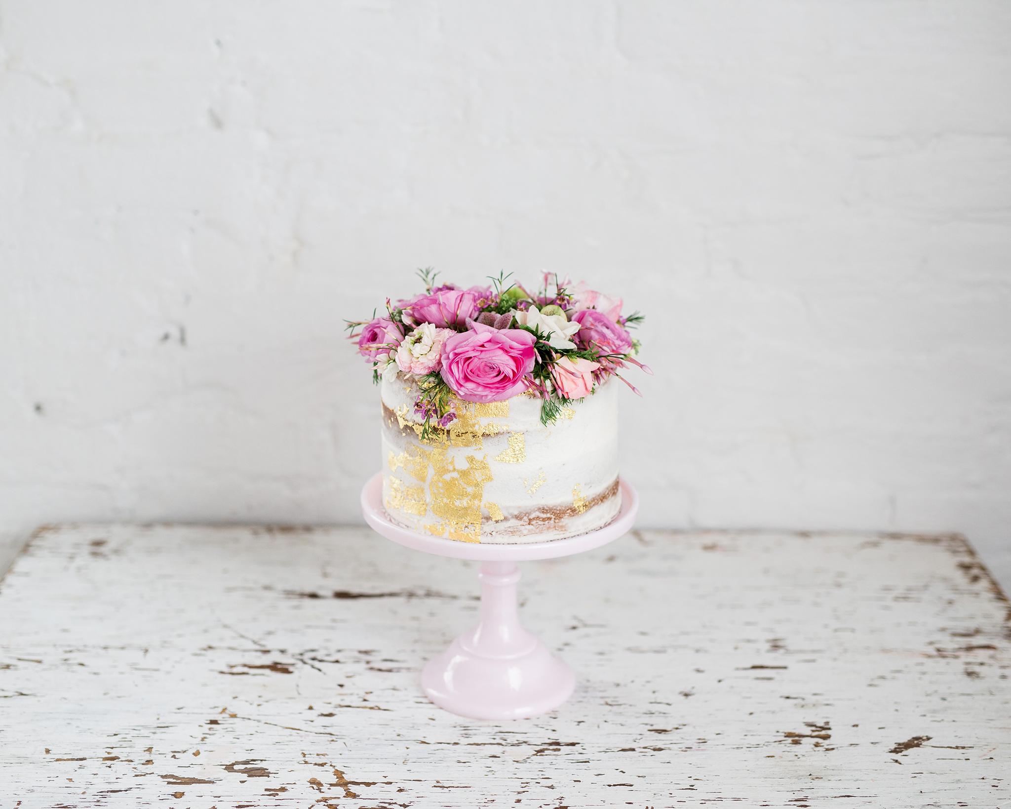 Feminine Pink and Gold Baby Shower Cake