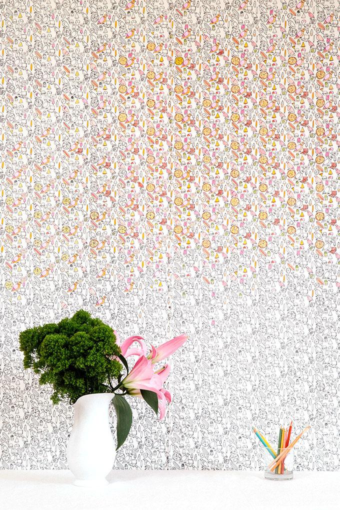 Coloring Book Wallpaper by Flat Vernacular