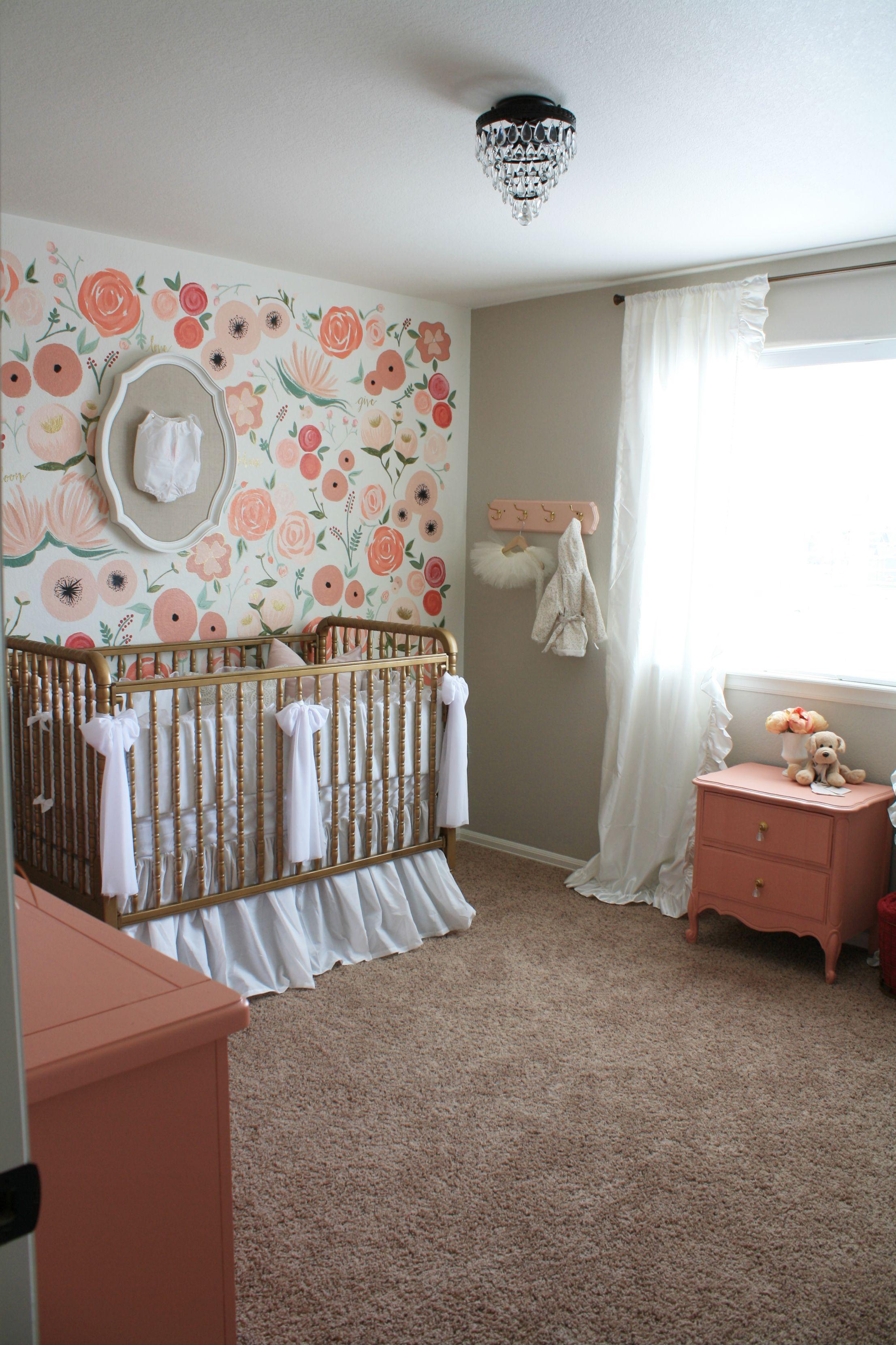 Hand Painted Floral Wall Mural Nursery Project Nursery