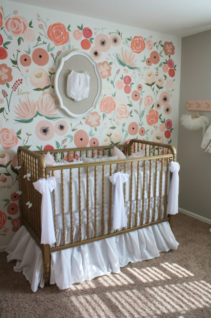 Hand painted floral wall mural nursery project nursery for Baby girl nursery mural