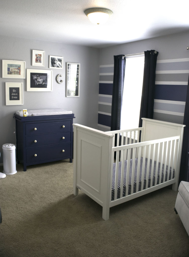Blue and Gray Striped Nursery