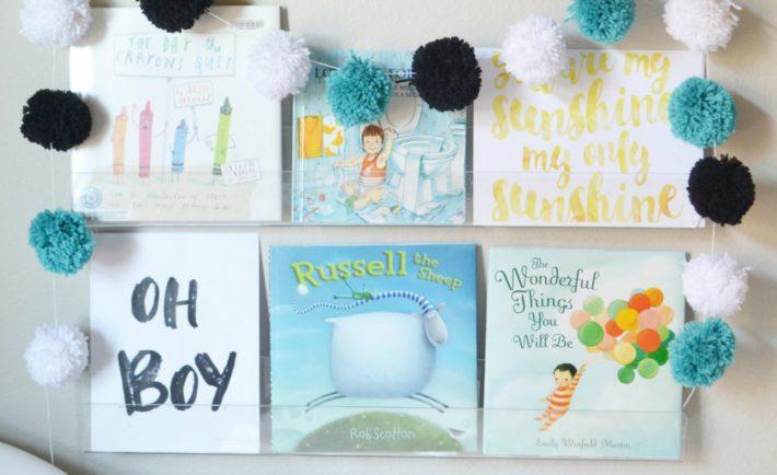 Nursery Bookshelves with Free Printable Art