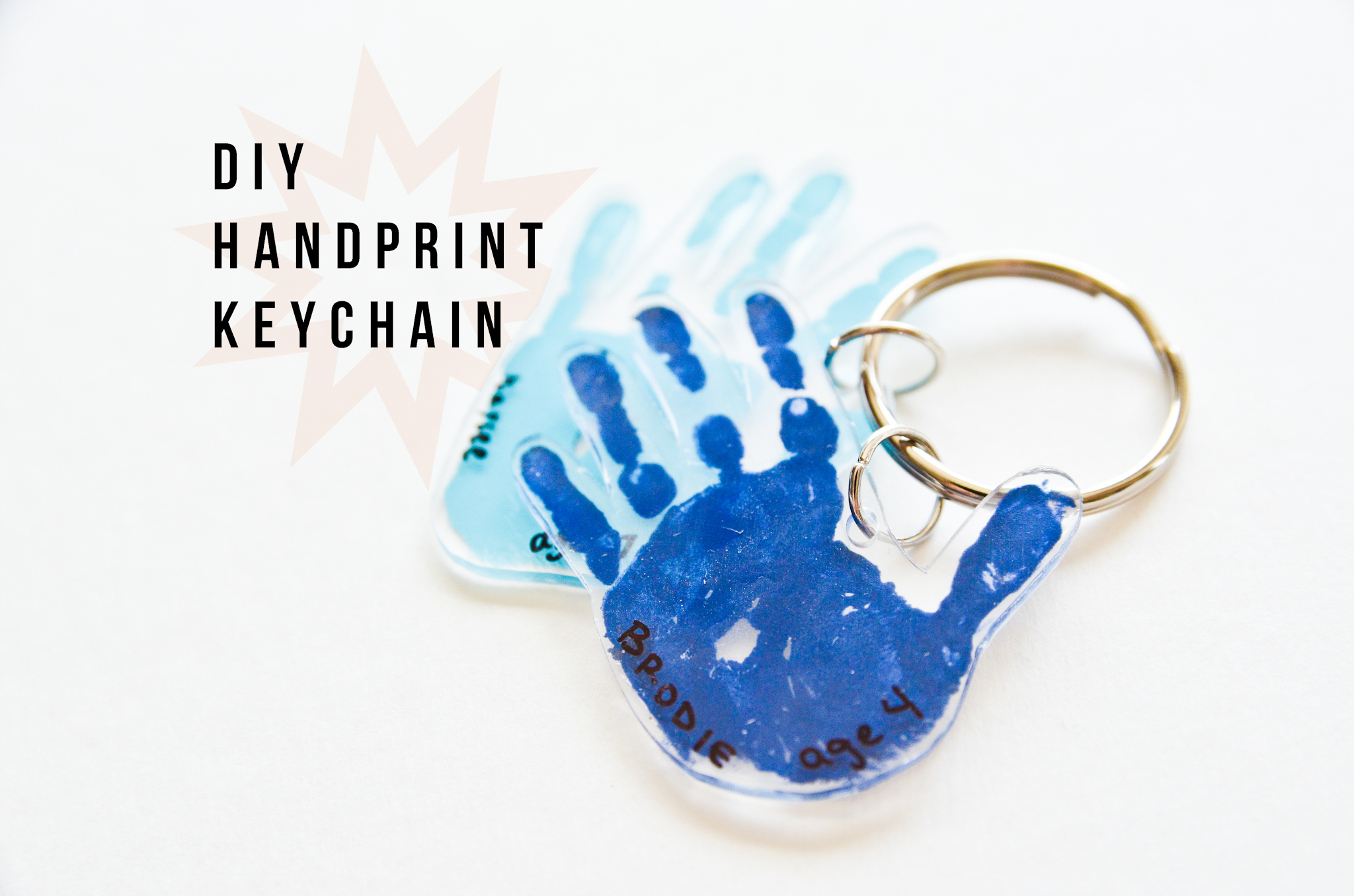 Shrinky Dink Hand Print Key Chain