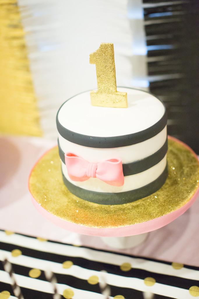 Black and White Striped Smash Cake