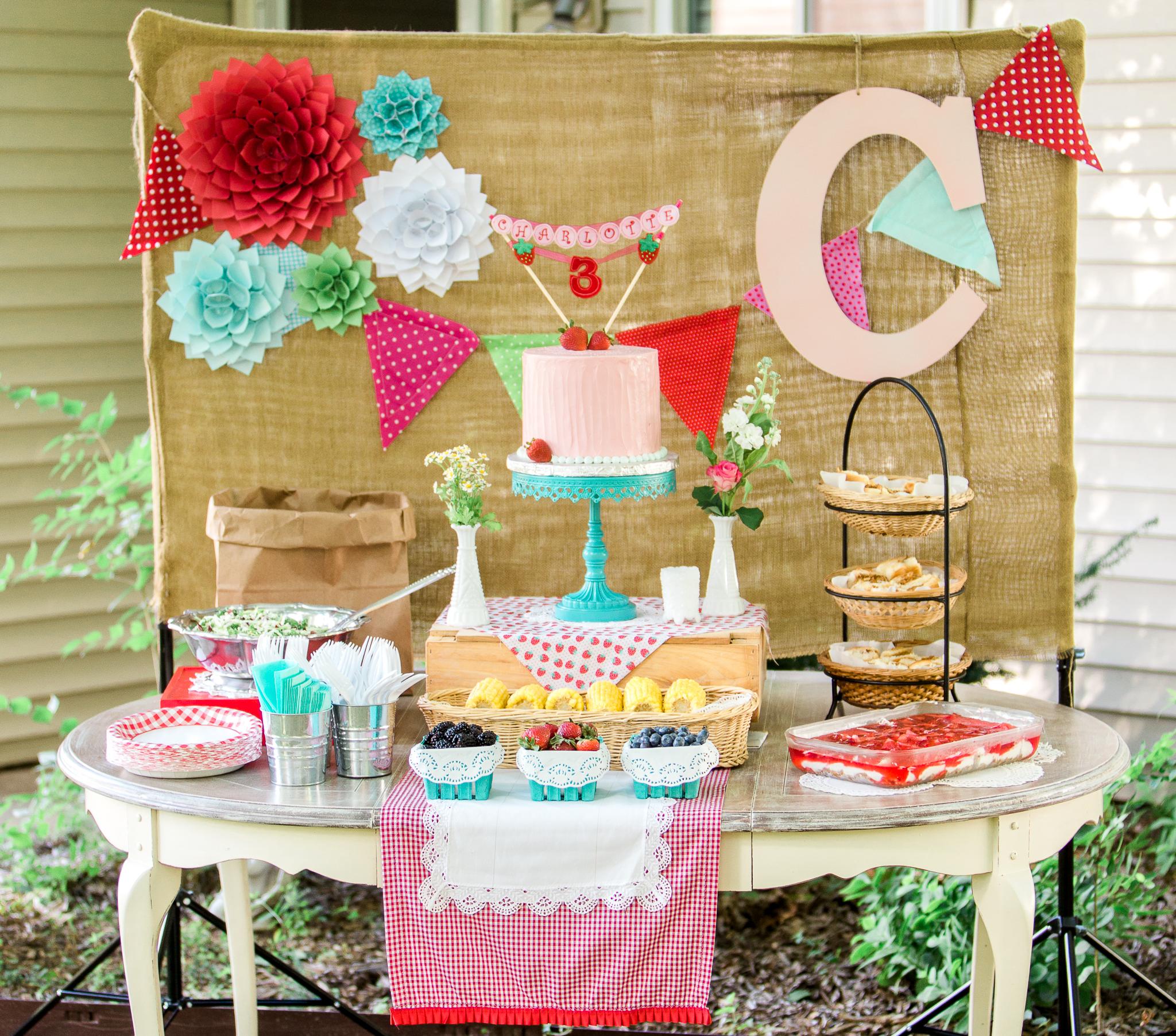 Charlotte's Backyard Strawberry Picnic Party - Project Nursery