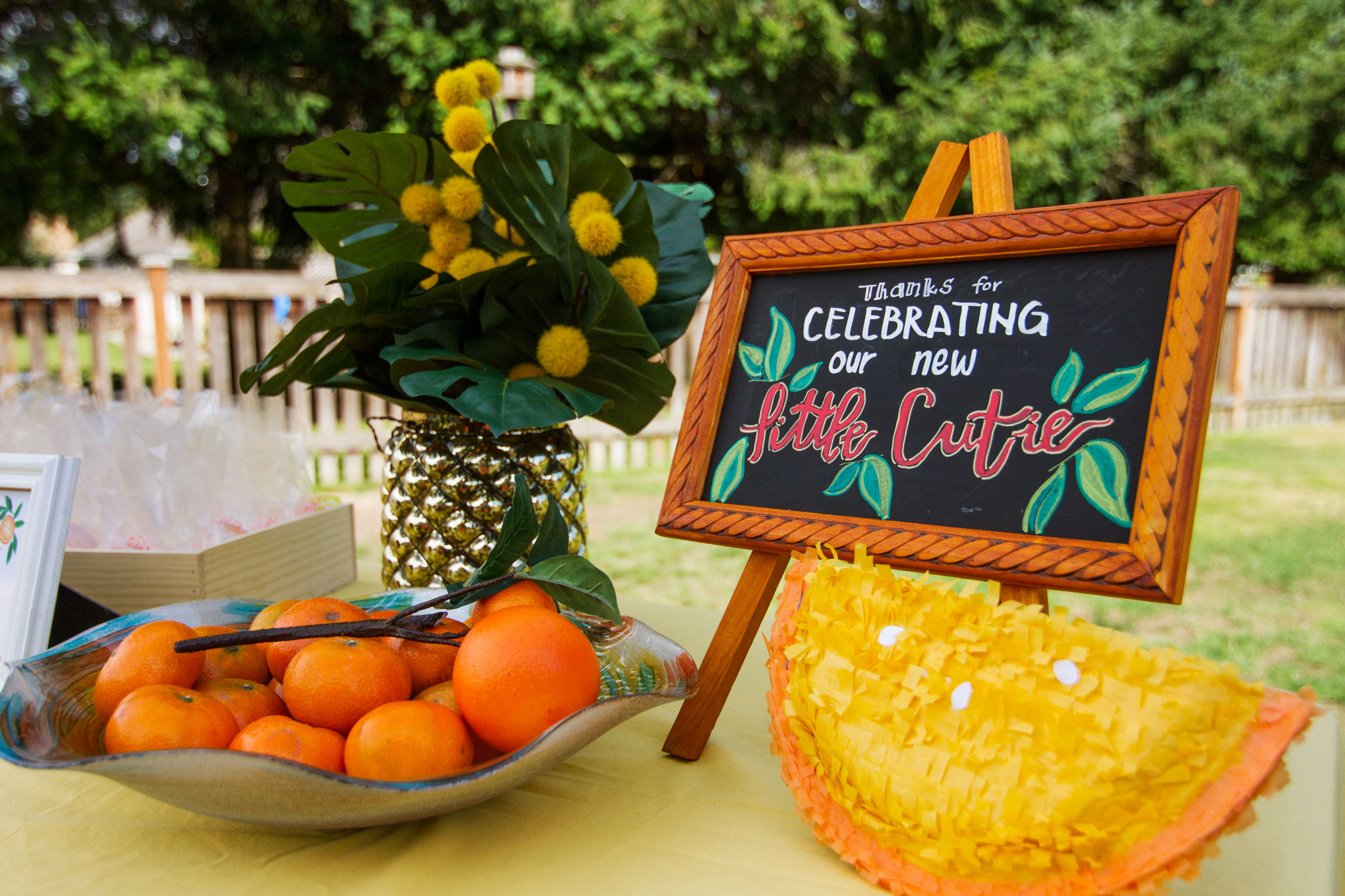Citrus Baby Shower Table Decor