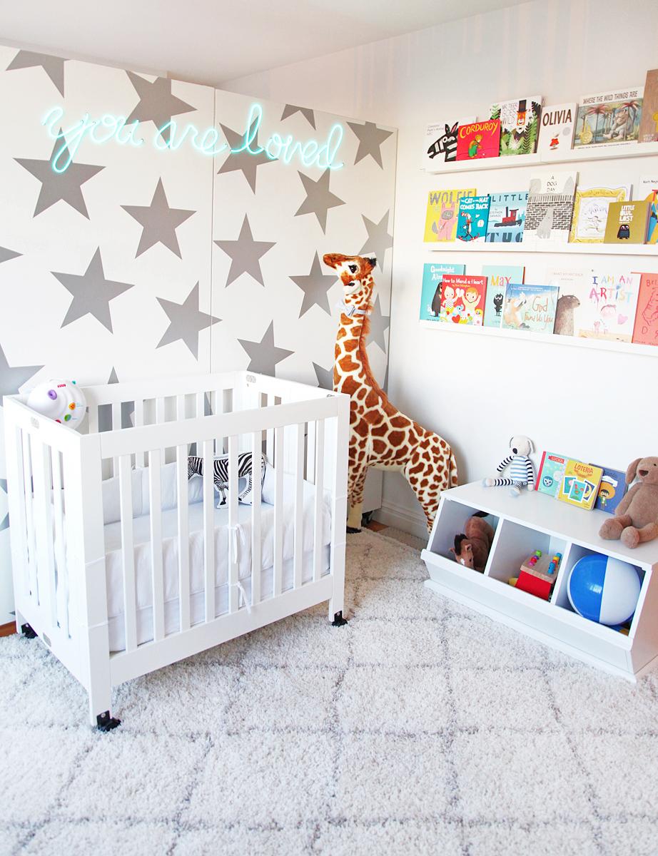 Jen Ramos Nursery with Neon Sign