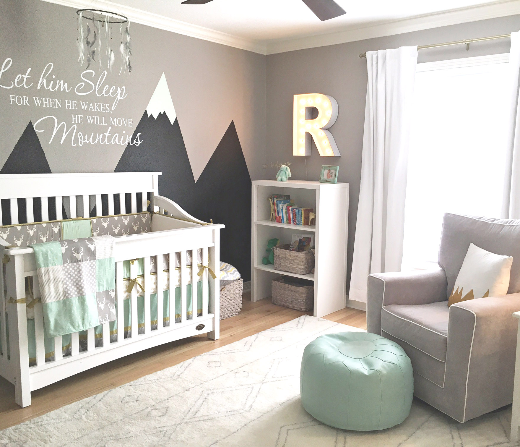Mint and Gray Mountain-Inspired Nursery