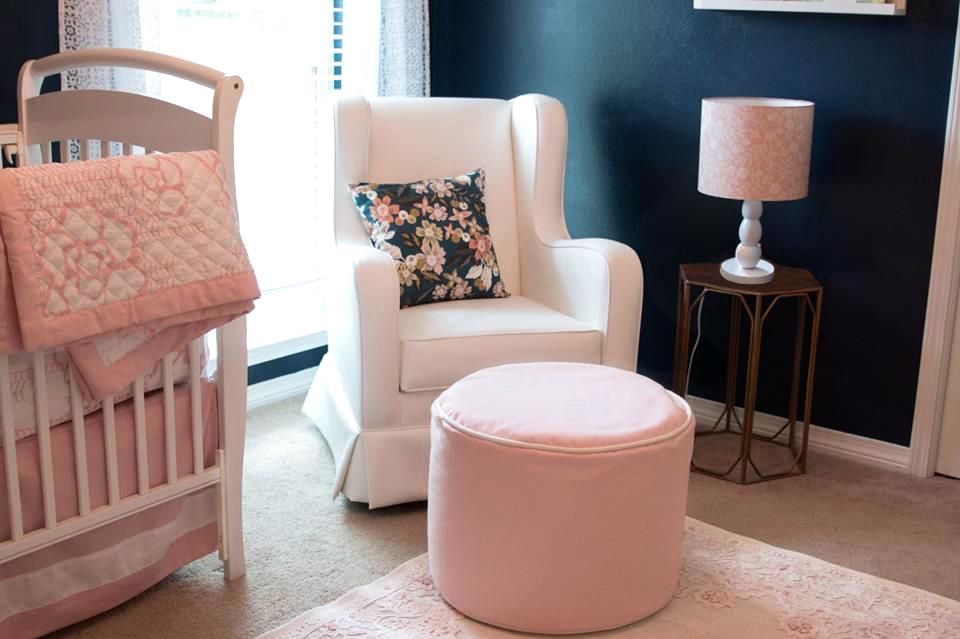 Feminine Navy and Pink Nursery