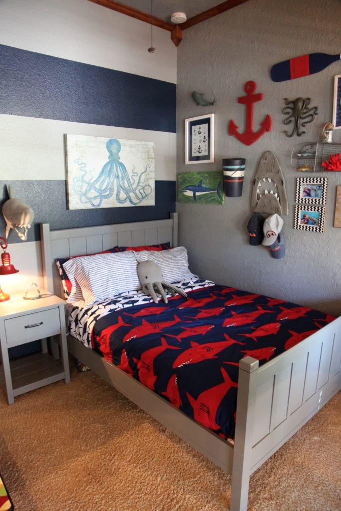 Shark themed boy 39 s room project nursery for 4 yr old bedroom ideas