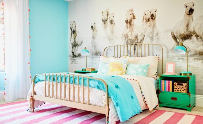 Aqua and Pink Equestrian-Inspired Girls Bedroom