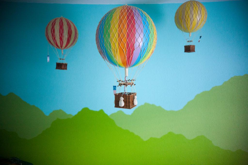 Hot air balloons and mountain mural