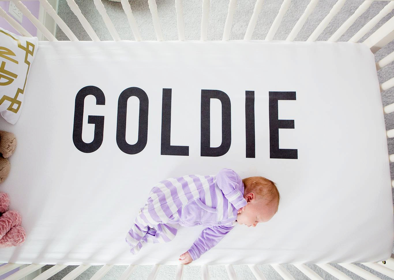 Large Name Personalized Crib Sheet