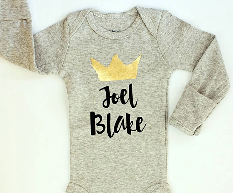 Beyond the monogram modern personalized baby gifts project nursery personalized onesie with crown negle Gallery